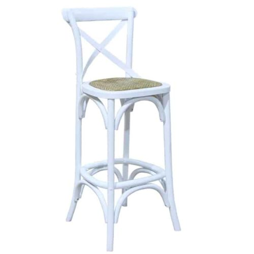 Bentwood Bar Stool White side on front view