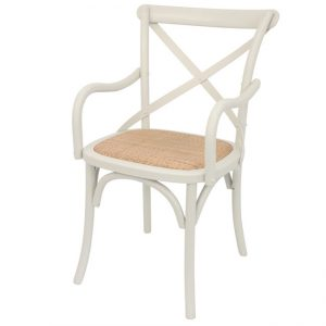 Bentwood Chairs White Carver side on front view