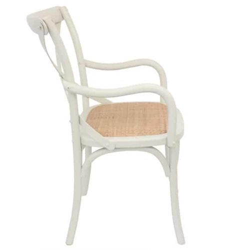 Bentwood Chairs White Carver side on view
