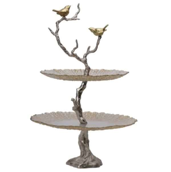 Bird and tree cakestand with two tiers