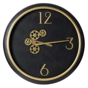 Black and gold wall clock with exposed mechanics front view