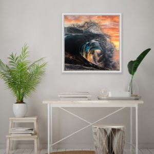 Break of Dawn by Mary Zammit wall art print on wall above side table.