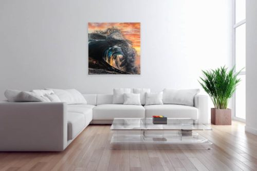 Break of Dawn by Mary Zammit large print on wall above sofa