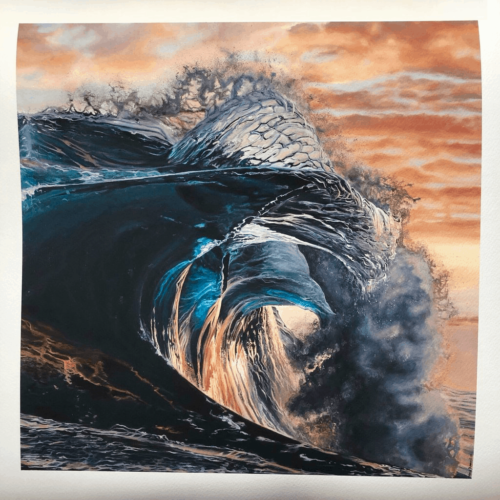 Break of Dawn by Mary Zammit close up of artwork. Wave breaking at dawn with orange sky.