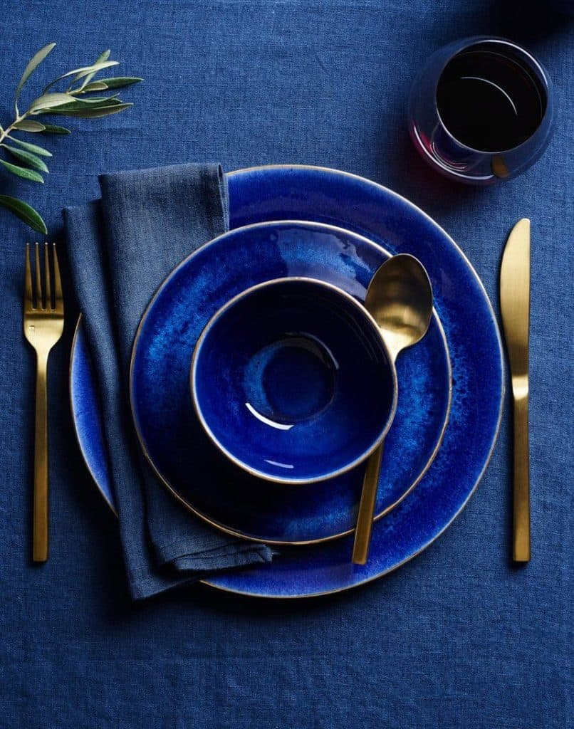 Dinnerware in Pantone's Color of 2020 Classic Blue,