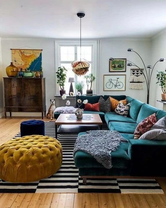 Eclectic living room with a mixture of textures - velvet, fur, wool, wood, macrame.