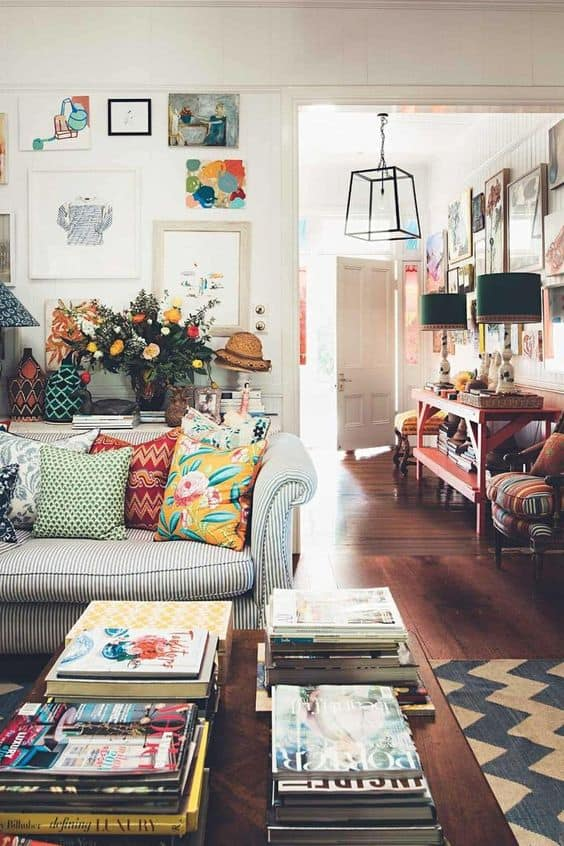 Eclectic decor consistency throughout our home.
