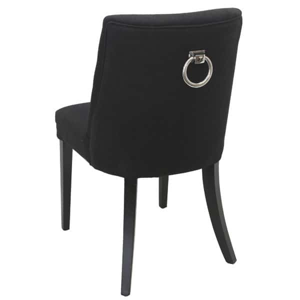 Georgia Chair Black with ring rear view with silver ring on back