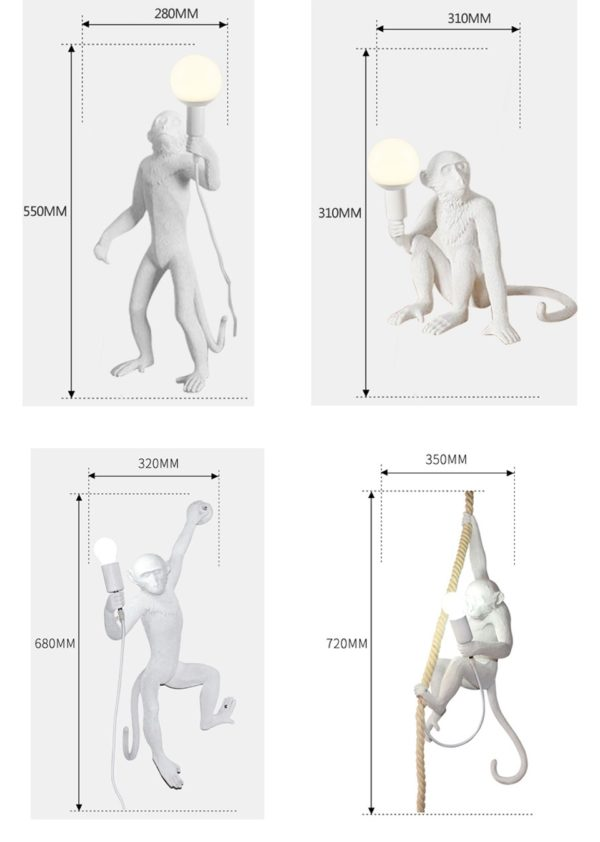 Monkey Lamps dimensions
