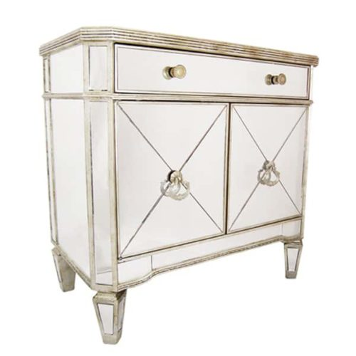 Helene mirrored cabinet side on front view. 1 drawer with cupboard underneath