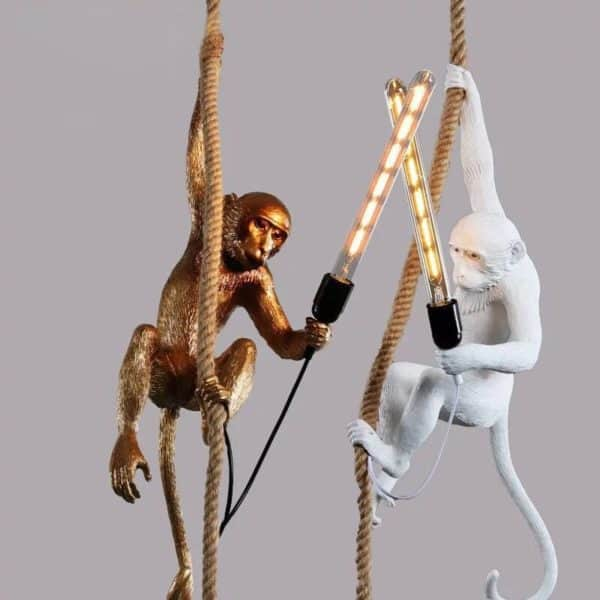 Monkey Lamps two hanging one white and one gold