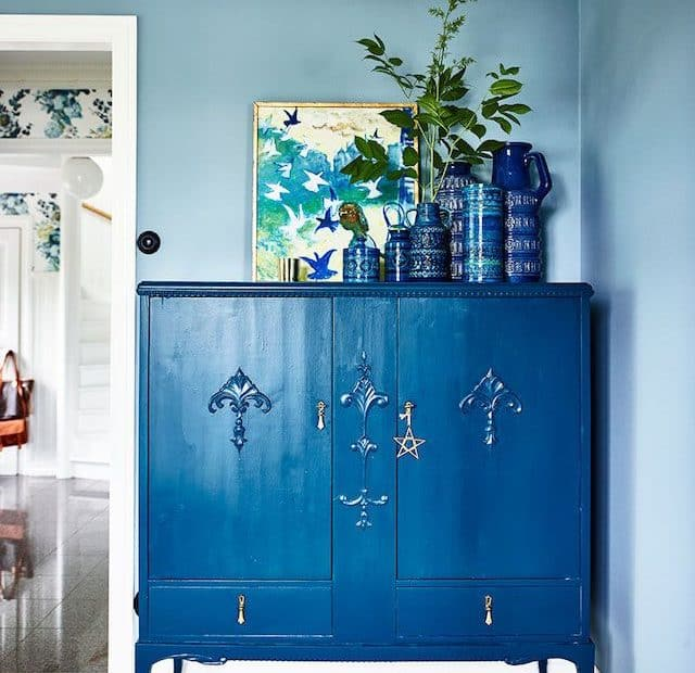 A dresser painted in Pantone's color of the year 2020 - Classic Blue