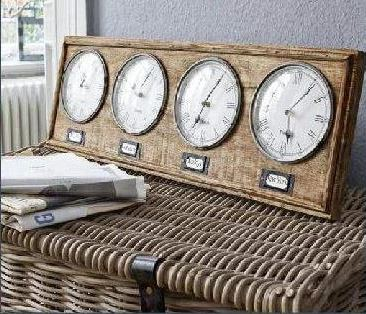 Vintage style world clock front view placed on wicker basket