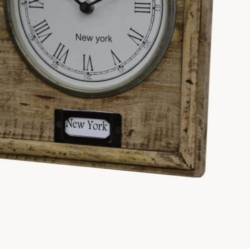 Vintage style world clock close up of label New York