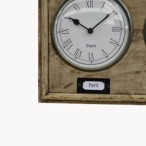 Vintage style world clock close up of dial and label Paris