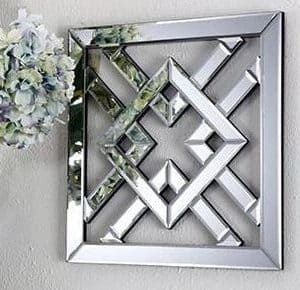 Diamond Mirrored Wall Art hanging on wall