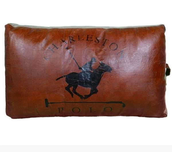Recycled Leather Large Polo cushion