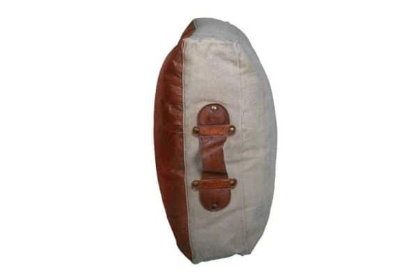 Recycled Leather Large Polo cushion side view with leather handle