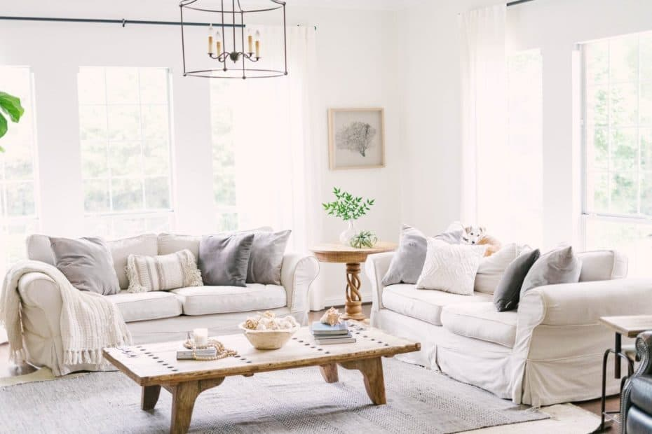Coastal decor living room with light timber furniture, light colour palette and natural materials