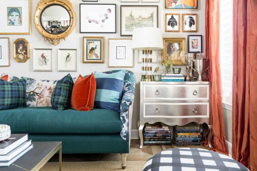 Maximalist decor featuring gallery wall, upcycled dresser and a mixture of patterns and textures