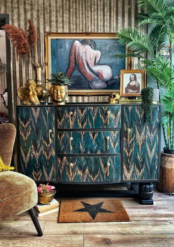 Maximalist interior trend by Sarah Parmenter featuring upcycled dresser and eclectic ornaments