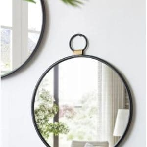 Round Pendant Wall Mirror black frame with gold detail