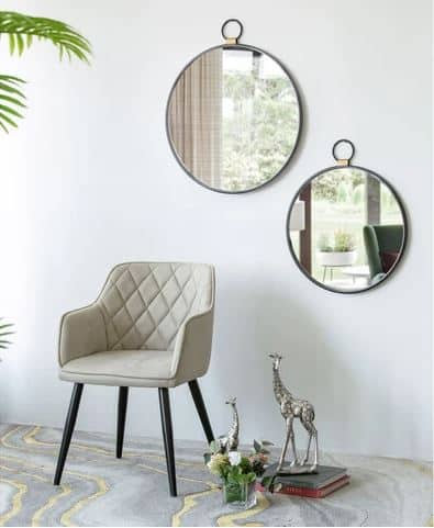 Round Pendant Wall Mirror on wall