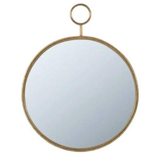 Timepiece Wall Mirror Gold front view