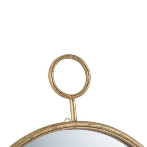 Timepiece Wall Mirror Gold Close up of top