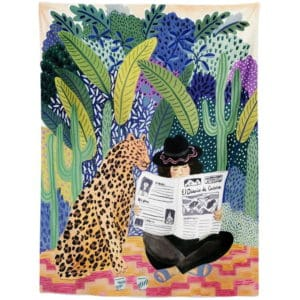 Exotic Tapestry reading newspaper