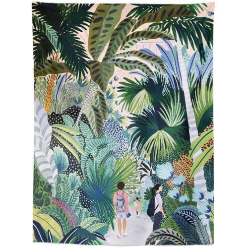 Exotic Tapestry walking through jungle