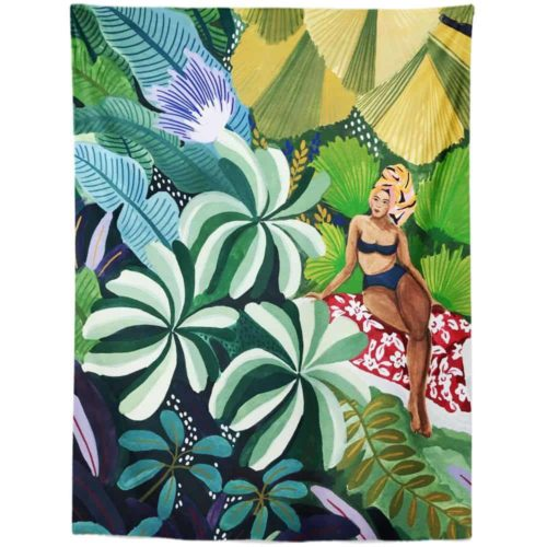 Exotic Tapestry woman relaxing in jungle