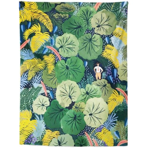 Exotic Tapestry man in jungle with large leaves