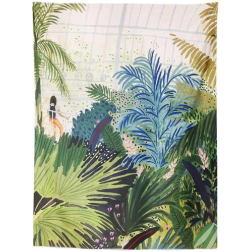 Exotic Tapestry large leaves and woman in jungle