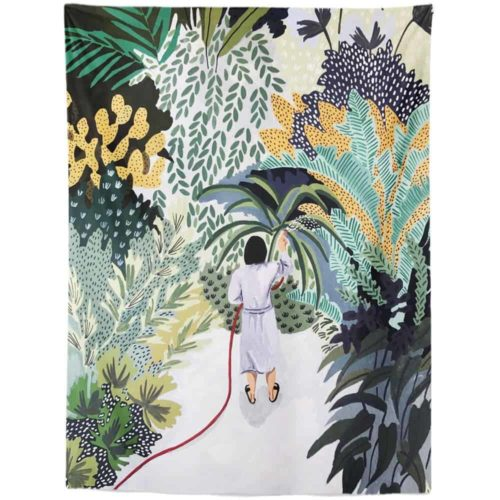 Exotic Tapestry man watering plants in jungle