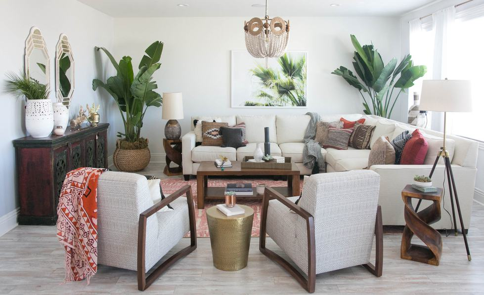 70s boho style Living room with indoor plants. 70s revival interior design