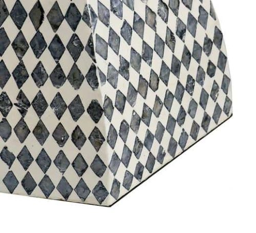 Handmade monochrome shell side table or stool detail view of diamond pattern