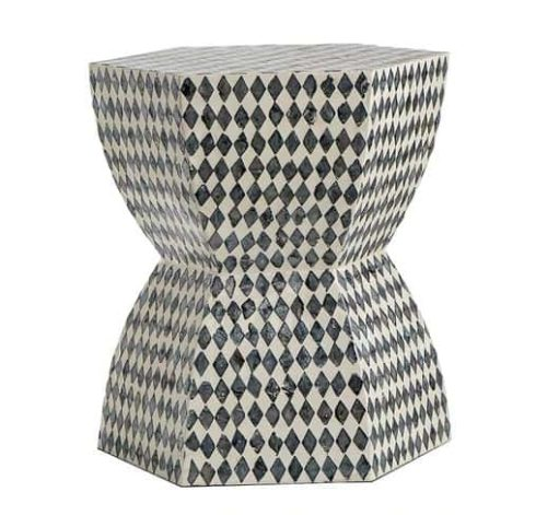 Handmade monochrome shell side table or stool side view