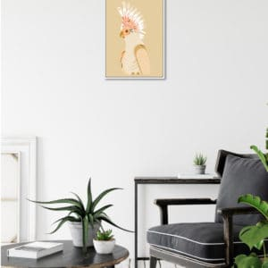 Booie annd ben galah framed artwork on wall in living room