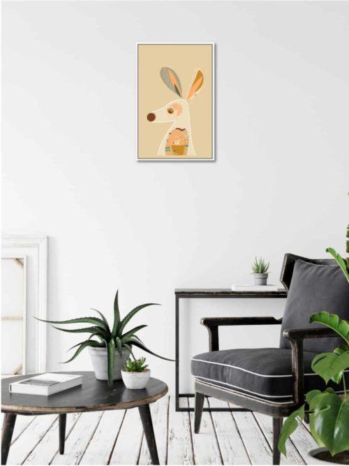 Booie and ben kangaroo framed artwork on wall