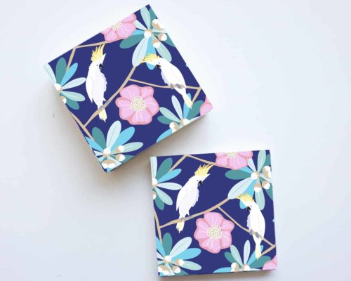 Chit Chat Parrot set of 4 ceramic coasters