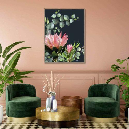 Inkheart Bush flower artwork on wall in living room