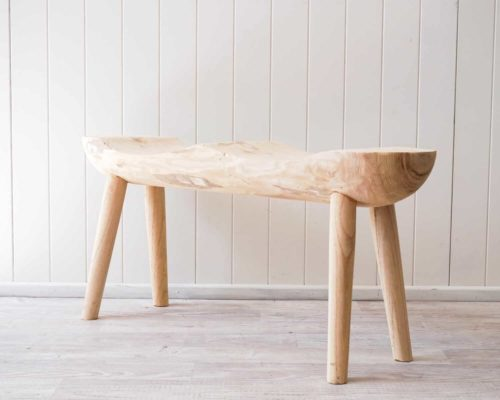 Timber double bench seat side on view
