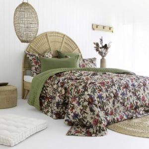 Olive bird floral double sided cotton quilt