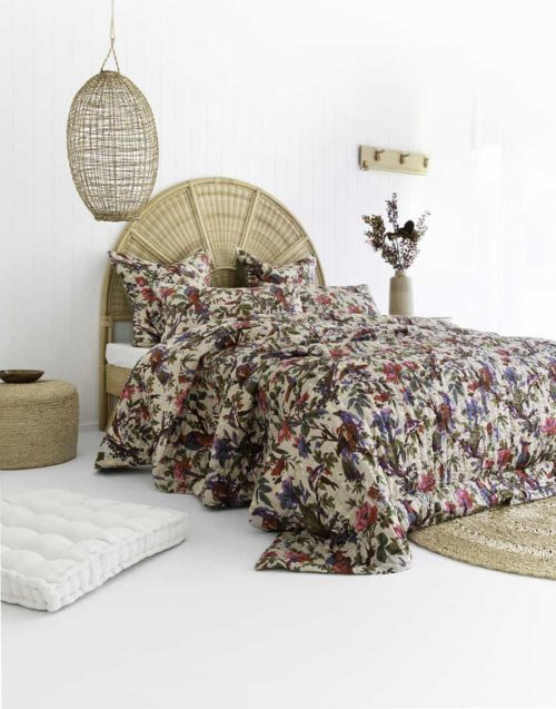 Olive bird floral double sided cotton quilt all patterned side up