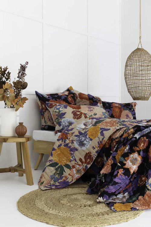 Taupe Black Floral Garden Cotton Double-sided quilt reversible