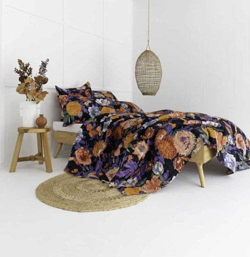 Taupe Black Floral Garden Cotton Double-sided quilt