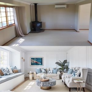 Before and after living room renovation by Three Birds Renovations