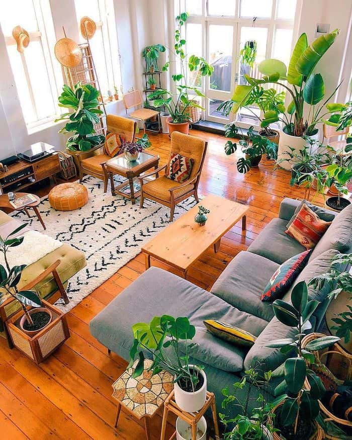 Connection to nature. Bringing the outside inside. Indoor plants, ,earthy colours, natural textures help to create this cozy 2021 interior design trend.