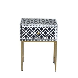 Ethically sourced bone inlay black side table front view